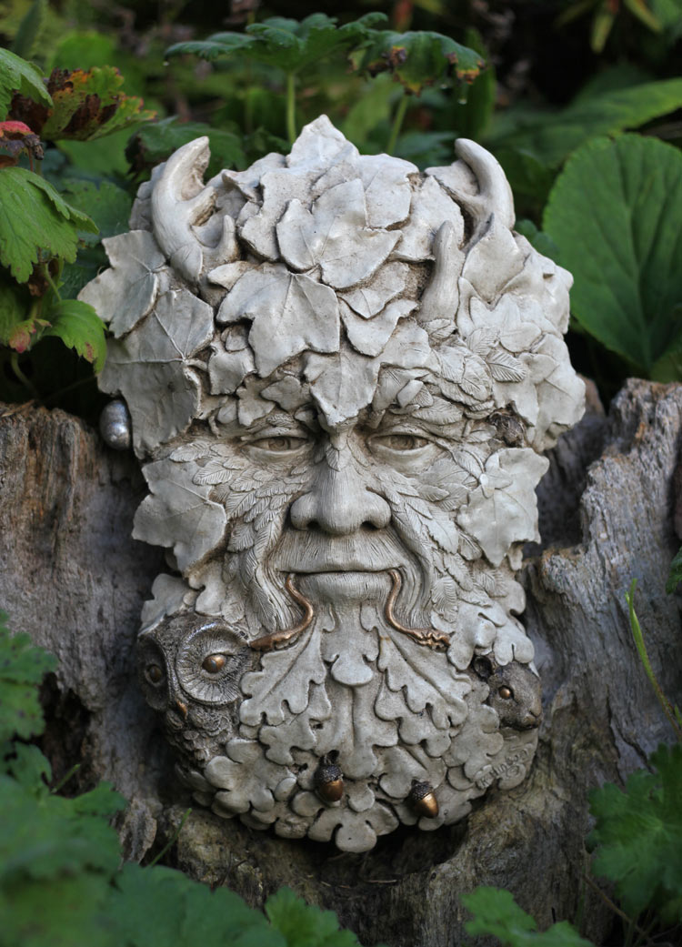 Herne The Hunter Sculpture Green Man With Gold