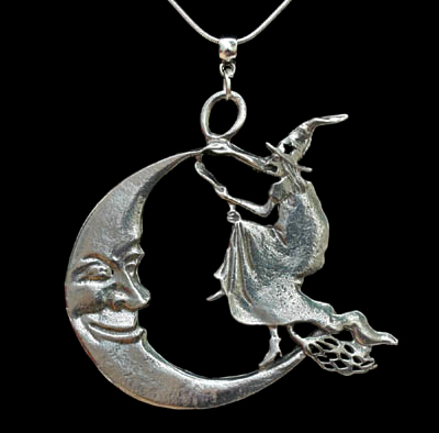 Large witch flying over the moon pendant spirit of the green man moon witch pendant aloadofball Gallery