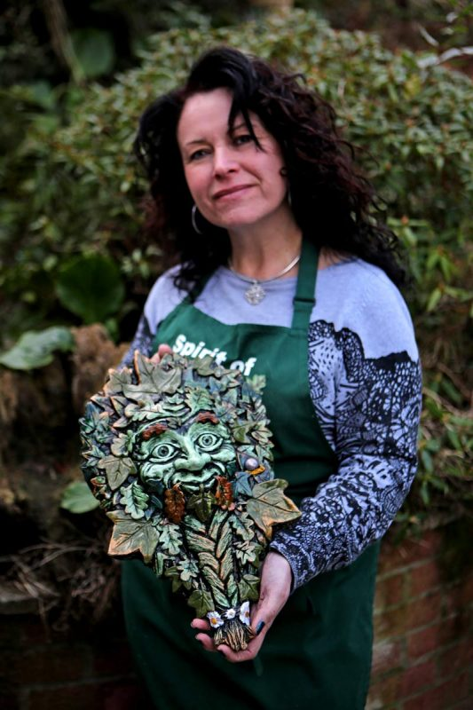 kathleen-minton-with-glastic-green-man-sculpture