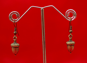brass-earrings-acorn-style